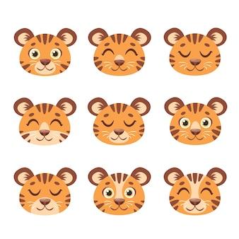 Śliczne twarze tygrysów zestaw tygrysów w paski