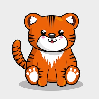Śliczne tygrysie charakter styl kawaii