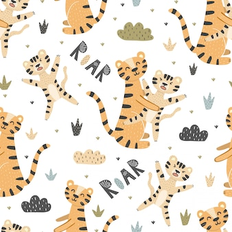 Śliczne tygrysy matki i dziecka bezszwowy wzór. ryk