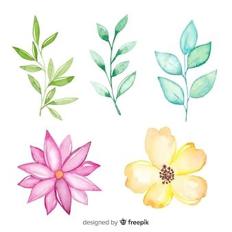 Śliczne uproszczone rysunki kolorowych kwiatów