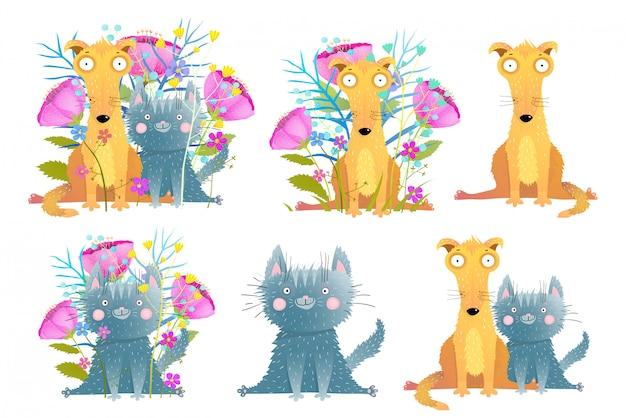 Śliczne urocze koty i psy clipartów kolekcja ręcznie rysowane kreskówki stylu przypominającym akwarele. kolekcja zabawnych zwierząt domowych. ilustracja.