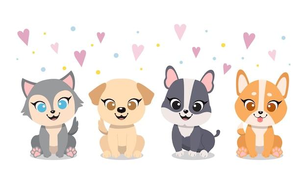 Śliczne urocze psy z kreskówek w płaskim stylu