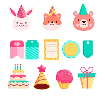 Śliczne urodzinowe elementy notatnika i kolekcja zwierząt