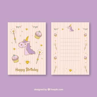 Śliczne urodziny karty z jednorożca