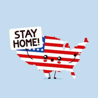 Śliczne usa przytrzymaj znak zostań w domu. ilustracja kreskówka postać w stylu płaski