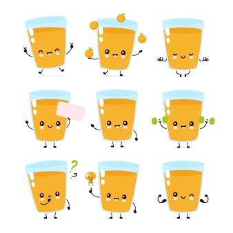 Śliczne uśmiechnięte szczęśliwe postacie szklane sok pomarańczowy zestaw kolekcji