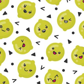 Śliczne uśmiechnięte wapno owoc, wektorowy bezszwowy wzór