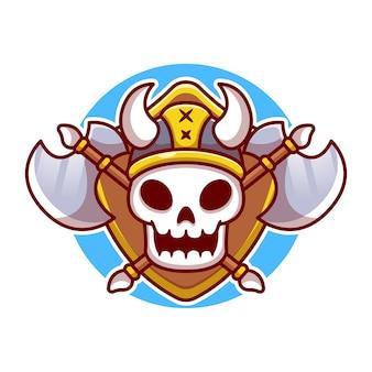 Śliczne viking skull with axe cartoon illustration. koncepcja viking na białym tle. płaski styl kreskówki