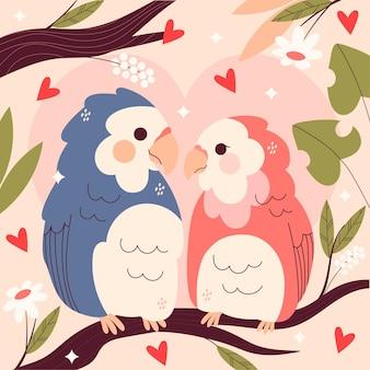 Śliczne walentynki para ptaków