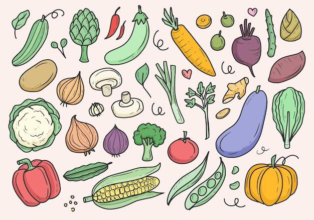 Śliczne warzywa doodle zestaw rysunków