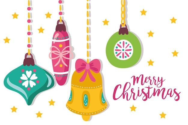 Śliczne wesołe kartki świąteczne z wiszącą dekoracją ilustracji