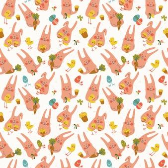 Śliczne wesołe wielkanocne króliki z kurczakami, kwiatami, jajami i marchewkami wzór doodle
