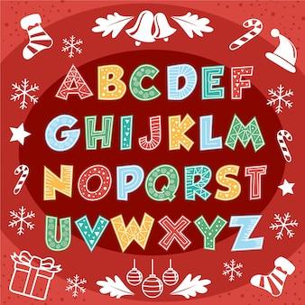 Śliczne wesołych świąt bożego narodzenia alfabet tekst typografii