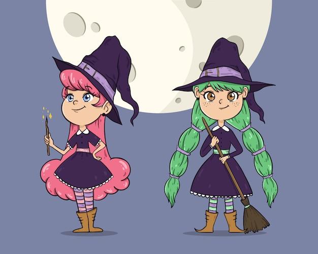 Śliczne wiedźmy halloween