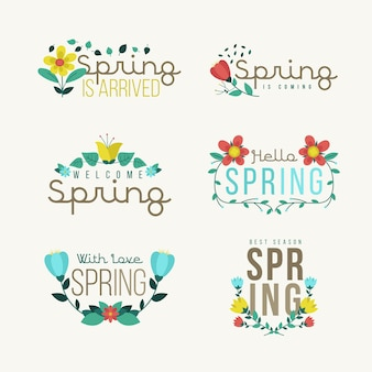 Śliczne wiosenne odznaki w płaskiej konstrukcji