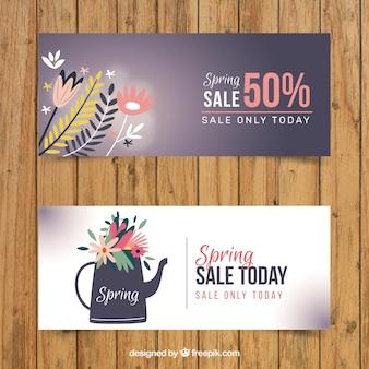 Śliczne wiosna transparenty sprzedaży