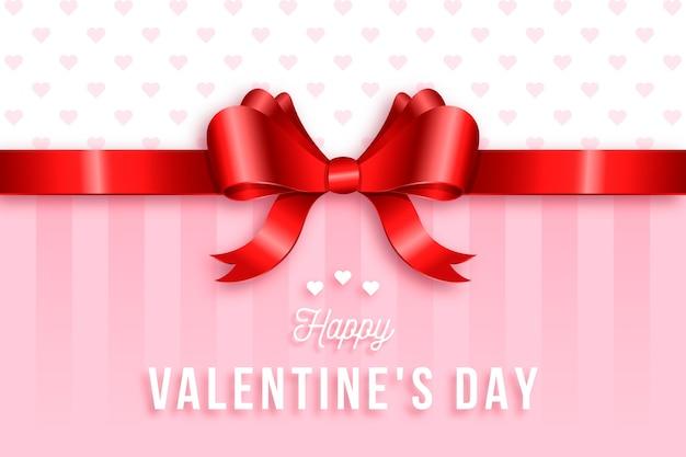Śliczne wstążki i łuk realistyczne tło valentine