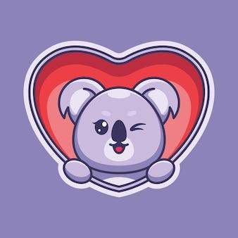 Śliczne wyskakujące koala z kreskówki serca