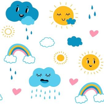 Śliczne wzory chmur bezszwowa tekstura ze słońcem