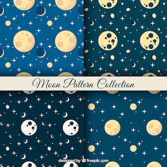 Śliczne wzory księżyca i gwiazd