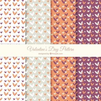 Śliczne wzory valentine z ręcznie rysowane serca