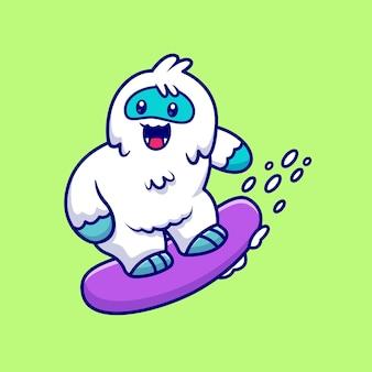 Śliczne yeti snowboarding ikona ilustracja kreskówka. koncepcja ikona sportu zwierząt na białym tle. płaski styl kreskówki