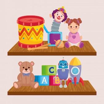 Śliczne zabawki dla dzieci na drewnianych półkach