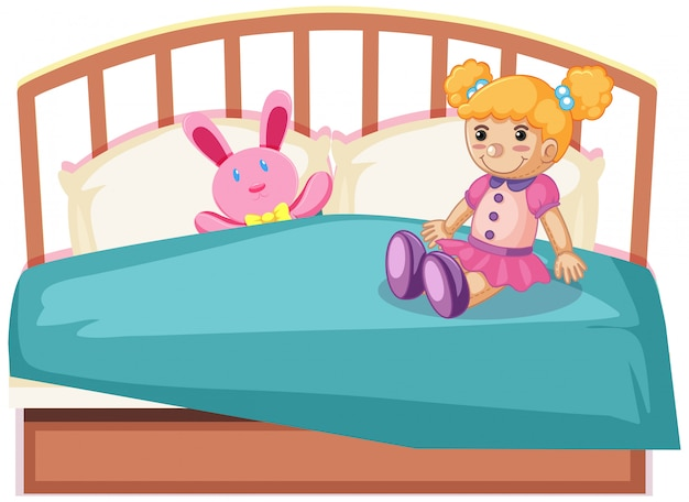 Śliczne zabawki na łóżku