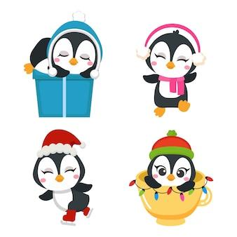 Śliczne zajęcia pingwina na świątecznym zestawie clipart