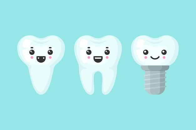 Śliczne zęby kolorowy zestaw z różnymi emocjami. inny kształt zębów. ząb kreskówka na białym tle ilustracja.