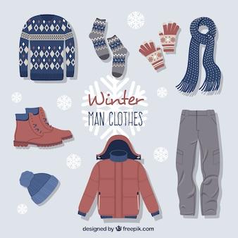 Śliczne zimowe ubrania z akcesoriami