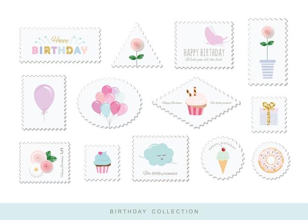 Śliczne znaczki pocztowe na urodziny projekt