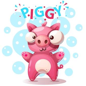 Śliczne znaki świni - ilustracja kreskówka