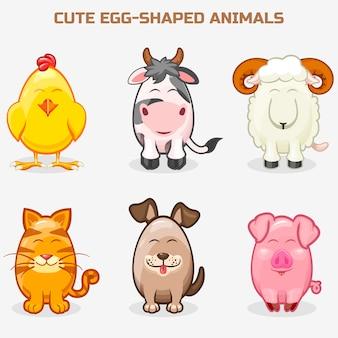 Śliczne zwierzątka domowe w jednym zestawie, proste w kształcie jajka