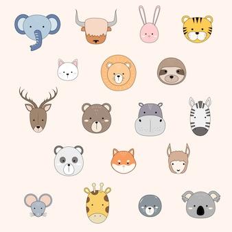 Śliczne zwierzę twarze ikony kolekcja kreskówka doodle