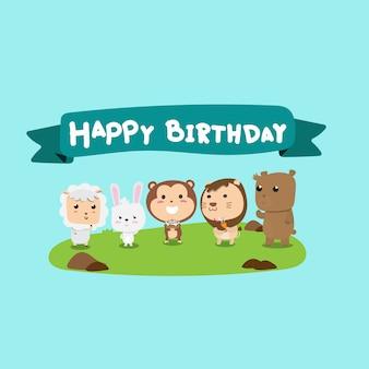 Śliczne zwierzęcy happybirthday