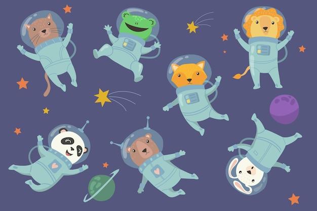 Śliczne zwierzęta dla dzieci w płaskim zestawie kosmicznym