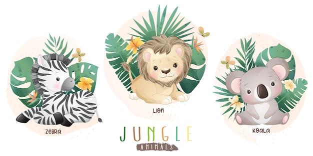 Śliczne zwierzęta dżungli z kwiatową kolekcją