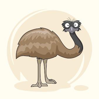 Śliczne zwierzęta emu ptak cartoon