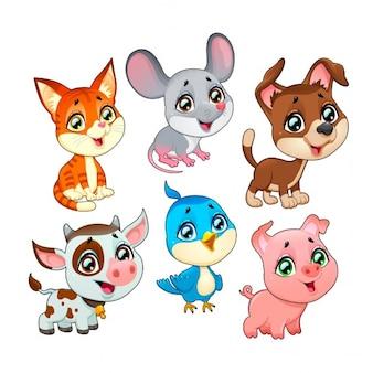 Śliczne zwierzęta gospodarskie wektor cartoon odizolowane znaków