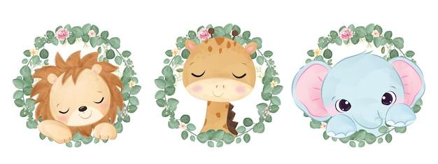 Śliczne zwierzęta i zieleń na ilustracji akwarela