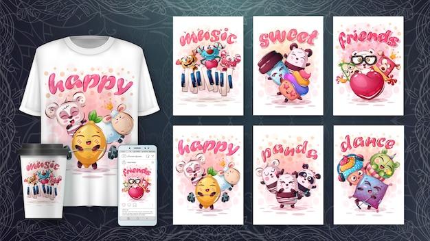 Śliczne zwierzęta - ilustracja i merchandising
