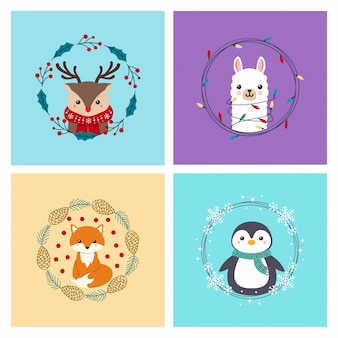 Śliczne zwierzęta, jeleń, lama, lis, pingwin z wieńcem