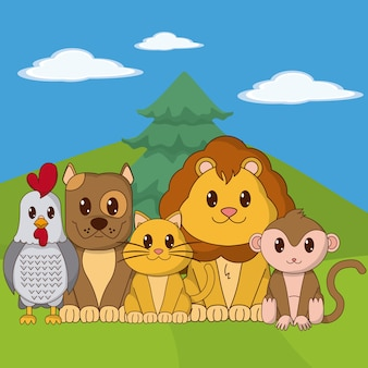 Śliczne zwierzęta kreskówki na krajobrazie
