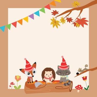 Śliczne zwierzęta leśne cartoon wektora z miejsca kopiowania szablon projektu karty, strona koncepcji ilustracji dla dzieci