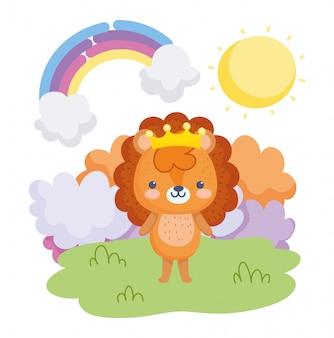 Śliczne zwierzęta, mały lew z koroną w trawie tęczowe chmury słoneczny dzień