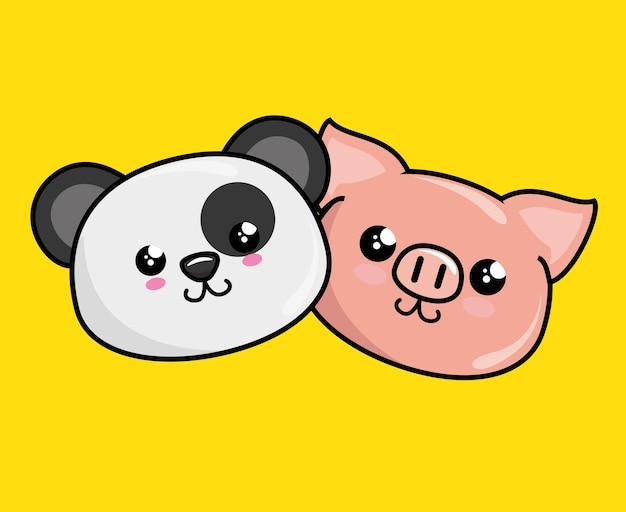 Śliczne zwierzęta postacie w stylu kawaii