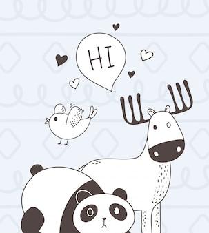 Śliczne zwierzęta szkic kreskówka panda urocza sarna panda ptak i cześć bańki