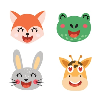 Śliczne zwierzęta twarze zestaw ilustracji