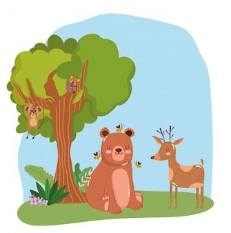 Śliczne zwierzęta w lesie